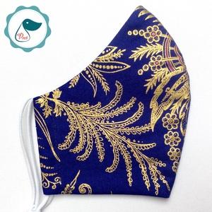 Egyedi exluziv arany,mintás textil - felnőtt női és teenager arcmaszk - keleti motívumok - egészségügyi szájmaszk, Maszk, Arcmaszk, Női, Varrás, Meska