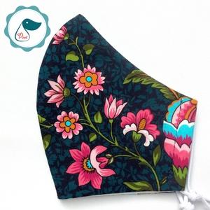 Egyedi virágos maszk - prémium  női és teenager szájmaszk - textil szájmaszk - egészségügyi szájmaszk, Maszk, Arcmaszk, Varrás, Meska