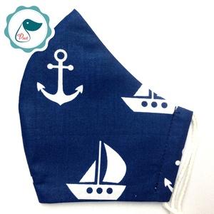 Egyedi tengerészes maszk - felnőtt női és teenager szájmaszk - nyári textil szájmaszk - egészségügyi szájmaszk, Maszk, Arcmaszk, Női, Varrás, Meska