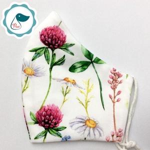 Egyedi mezei virágos maszk - prémium  női és teenager szájmaszk - nyári textil szájmaszk - egészségügyi szájmaszk, Maszk, Arcmaszk, Varrás, Meska