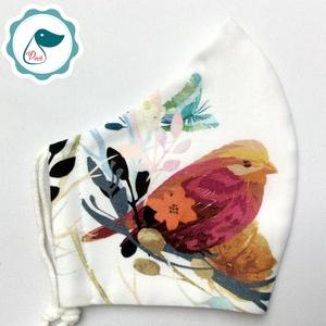 Egyedi madár mintás maszk - prémium  női és teenager szájmaszk - nyári textil szájmaszk - egészségügyi szájmaszk, Maszk, Arcmaszk, Varrás, Meska
