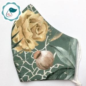 Egyedi levél ,rózsa mintás maszk - prémium  női és teenager szájmaszk - nyári textil szájmaszk - egészségügyi szájmaszk, Maszk, Arcmaszk, Varrás, Meska