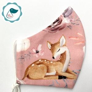 Egyedi őzike mintás maszk - prémium  női és teenager szájmaszk - nyári textil szájmaszk - egészségügyi szájmaszk, Maszk, Arcmaszk, Varrás, Meska