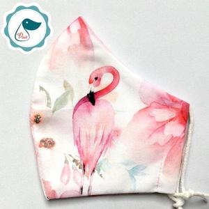 Egyedi flamingó mintás maszk - prémium  női és teenager szájmaszk - nyári textil szájmaszk - egészségügyi szájmaszk - maszk, arcmaszk - Meska.hu