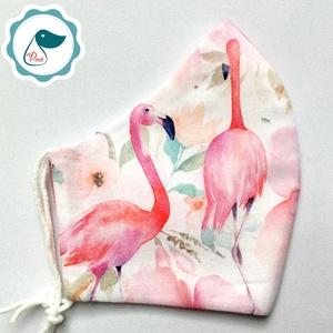 Egyedi flamingó mintás maszk - prémium  női és teenager szájmaszk - nyári textil szájmaszk - egészségügyi szájmaszk - Meska.hu