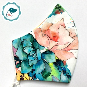 Egyedi rózsás maszk - prémium  női és teenager szájmaszk - nyári textil szájmaszk - egészségügyi szájmaszk, Maszk, Arcmaszk, Varrás, Meska