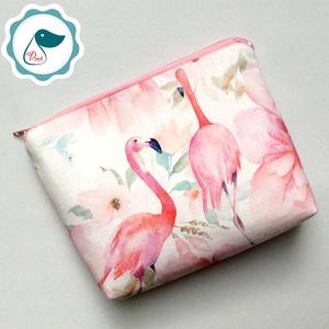 Egyedi  flamingó mintás közép méretű neszesszer - táska ki egészítő - vintage neszesszer - aprópénztartó, Táska & Tok, Neszesszer, Varrás, Meska