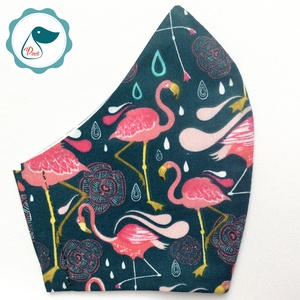 Egyedi flamingó mintás arcmaszk - felnőtt női és teenager maszk - textil szájmaszk - egészségügyi szájmaszk, Maszk, Arcmaszk, Női, Varrás, Meska