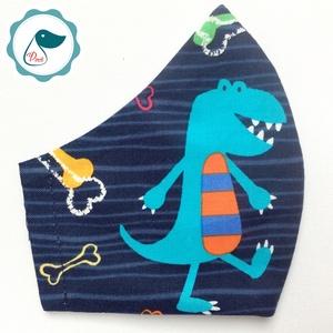 Egyedi dinoszaurusz mintás - gyerek szájmaszk - textil szájmaszk - egészségügyi szájmaszk - mosható szájmaszk, Maszk, Arcmaszk, Gyerek, Baba-és bábkészítés, Varrás, Meska
