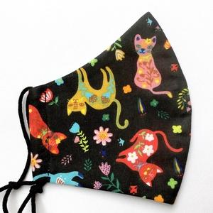 Egyedi cicás maszk - kiskamasz szájmaszk - textil szájmaszk - egészségügyi szájmaszk - mosható szájmaszk, Maszk, Arcmaszk, Gyerek, Baba-és bábkészítés, Varrás, Meska