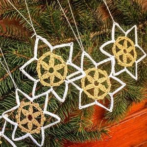 Egyedi 5db horgolt arany,fehér csillag -  karácsonyfa dísz - karácsonyi ajándék - Ablak dísz - Meska.hu