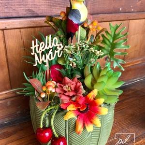 Tukános nyári asztaldísz, Otthon & Lakás, Dekoráció, Ablakdísz, Virágkötés, Trópusi nyári hangulatot idéző tukános asztaldísz, amely igazi nyári dekorációja lehet otthonodnak. ..., Meska