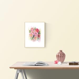 """Akvarell Nyári csokor - art print (akvarell festményem alapján), Képzőművészet, Otthon & lakás, Festmény, Akvarell, Lakberendezés, Festészet, Fotó, grafika, rajz, illusztráció, Akvarell Nyári virágok és levélkék - art print (akvarell festményem alapján) \n\n\""""Nyári csokor\"""" rózsas..., Meska"""