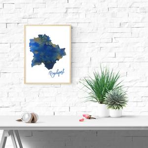 Art print Lápisz Lazuli Kék Budapest sziluett - A4-es méret (akvarell festményem alapján), Képzőművészet, Otthon & lakás, Illusztráció, Festészet, Lápisz Lazuli Kék Budapest sziluett -  akvarell  kép A4-es méret  (akvarell festményem alapján)\n\nKék..., Meska
