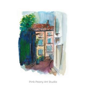 Francia utcarészlet - art print A5, Otthon & lakás, Képzőművészet, Illusztráció, Festészet, Fotó, grafika, rajz, illusztráció, Art print francia utcarészlet - A5-ös méret  (akvarell festményem alapján)\n\nAjánlom a szobád falára,..., Meska