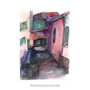 Olasz utcarészlet - art print A5, Otthon & lakás, Képzőművészet, Illusztráció, Festészet, Fotó, grafika, rajz, illusztráció, Art print olasz utcarészlet - A5-ös méret  (akvarell festményem alapján)\n\nAjánlom a szobád falára, m..., Meska