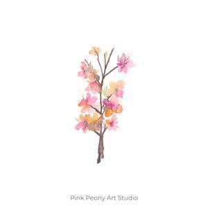 """Tavaszi virágos ágacska akvarell art print A4 méret, Lakberendezés, Otthon & lakás, Képzőművészet, Festészet, Fotó, grafika, rajz, illusztráció, Tavaszi virágos ágacska - Akvarell Art Print A4es méret (akvarell festményem alapján)\n\n\""""Tavaszi virá..., Meska"""