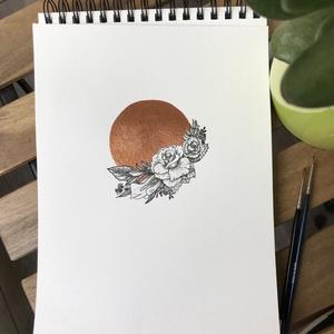 Bronzkör rózsákkal illusztráció, Otthon & lakás, Képzőművészet, Illusztráció, Festészet, Bronzkör rózsákkal illusztráció\n\nAkvarell papíron (200g) metálfényű bronz festékkel fetettem a kört,..., Meska