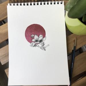 Metallic Pink kör cseresznyevirággal illusztráció, Otthon & lakás, Képzőművészet, Illusztráció, Festészet, Metallic Pink kör cseresznyevirággal illusztráció - Aranykör kollekció\n\nAkvarell papíron (200g) metá..., Meska
