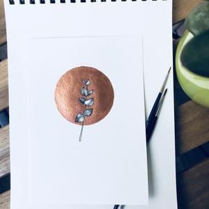 Bronzkör eukaliptusz ággal illusztráció, Otthon & lakás, Képzőművészet, Illusztráció, Festészet, Bronzkör eukaliptusz ággal illusztráció\n\nAkvarell papíron (200g) metálfényű bronz festékkel fetettem..., Meska