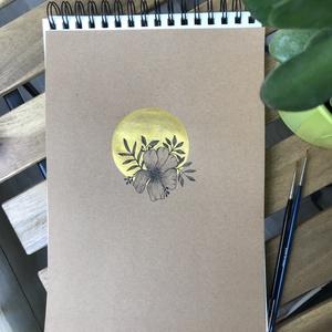 Aranykör vadvirággal illusztráció, Otthon & lakás, Képzőművészet, Illusztráció, Festészet, Aranykör vadvirággal illusztráció\n\nBarna craftpaper papíron metálfényű arany festékkel fetettem a kö..., Meska