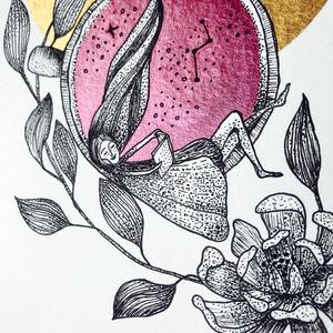 Aranykör olvasó lánnyal és peony virággal illusztráció, Otthon & lakás, Képzőművészet, Illusztráció, Festészet, Aranykör olvasó lánnyal és peony virággal illusztráció\n\nAkvarell papíron (200g) metálfényű arany és ..., Meska