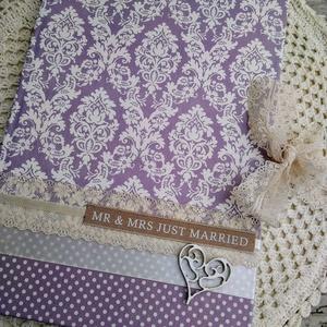 Lila álom esküvői vendégkönyv, Vendégkönyv, Emlék & Ajándék, Esküvő, Decoupage, transzfer és szalvétatechnika, Könyvkötés, Dekupázs technikával készült esküvői vendégkönyv, emlékkönyv.\nMérete: A4, 21 x 29,7\nA kemény fedelű ..., Meska