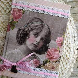 Rózsaszín vintage emlékkönyv, Könyv, Papír írószer, Otthon & Lakás, Decoupage, transzfer és szalvétatechnika, Könyvkötés, Dekupázs technikával készült notesz, emlékkönyv, napló vagy szakácsköny, receptgyűjtemény.\nMérete: 2..., Meska