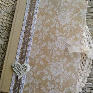 Krém álom esküvői vendégkönyv, Vendégkönyv, Emlék & Ajándék, Esküvő, Decoupage, transzfer és szalvétatechnika, Könyvkötés, Dekupázs technikával készült esküvői vendégkönyv, emlékkönyv.\nMérete: A4, 21 x 29,7\nA kemény fedelű ..., Meska