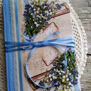 Kék álom esküvői vendégkönyv, Vendégkönyv, Emlék & Ajándék, Esküvő, Decoupage, transzfer és szalvétatechnika, Könyvkötés, Dekupázs technikával készült esküvői vendégkönyv, emlékkönyv.\nMérete: A4, 21 x 29,7\nA kemény fedelű ..., Meska