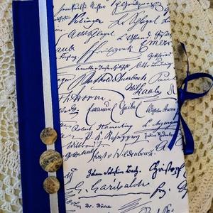 Királykék kézírásos napló, Otthon & Lakás, Jegyzetfüzet & Napló, Papír írószer, Decoupage, transzfer és szalvétatechnika, Könyvkötés, Meska
