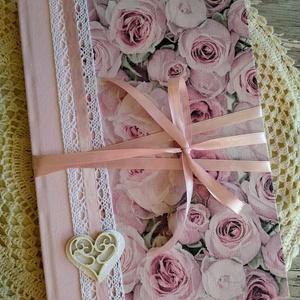 Rózsaszín rózsás esküvői vendégkönyv, Vendégkönyv, Emlék & Ajándék, Esküvő, Decoupage, transzfer és szalvétatechnika, Könyvkötés, Dekupázs technikával készült esküvői vendégkönyv, emlékkönyv.\nMérete: A4, 21 x 29,7\nA kemény fedelű ..., Meska