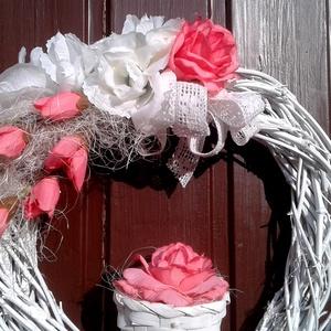 Rózsás vesszőkoszorú (26 cm) (pinkrose) - Meska.hu