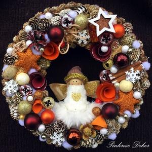 ANGYALKÁS KARÁCSONYI KOPOGTATÓ (27 cm) KÉSZTERMÉK, Otthon & lakás, Dekoráció, Ünnepi dekoráció, Karácsony, Lakberendezés, Ajtódísz, kopogtató, Virágkötés, Mindenmás, Ünnepi kopogtató NARANCS-BARNA-ARANY színvilágban  angyalkával, díszgőmbökkel, festett tobozokkal, d..., Meska