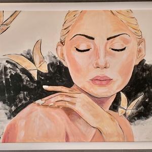 Alinda álma, Művészet, Festmény, Akril, Festett tárgyak, 100x70 cm , feher keretben lévő festmény. \nSaját alkotás .Akrillal készült. \nHa az otthonomról álmod..., Meska