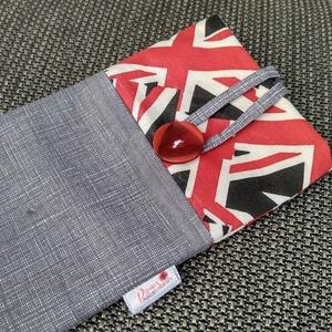 Brit zászlós, bélelt, textil telefontok, Telefontok, Pénztárca & Más tok, Táska & Tok, Varrás, Ez az egyszerű telefontok pamut vászonból készült, vékony közbéléssel. Gombbal záródó, mosható 40 fo..., Meska