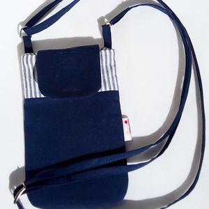 Kék csíkos, nyakba akasztható, textil telefontok, Telefontok, Pénztárca & Más tok, Táska & Tok, Varrás, Ez az egyszerű telefontok pamut vászonból készült, vékony közbéléssel. Nyakba akasztható, állítható ..., Meska