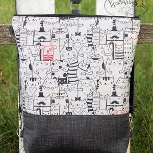 Cicás 3in1 hátizsák / oldaltáska / válltáska, Táska, Divat & Szépség, Táska, Hátizsák, Válltáska, oldaltáska, Erős vászonból készült hátizsák/oldaltáska. A táska hátsó oldala megegyezik az első oldallal.  A vál..., Meska