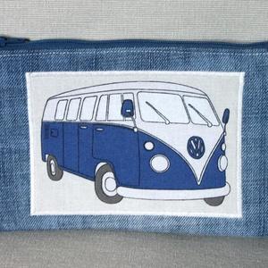 Volkswagen motívummal díszített neszesszer, kék, Táska, Divat & Szépség, Táska, Neszesszer, Pénztárca, tok, tárca, Pénztárca, Férfi táska, Farmervászonból készült lapos neszesszer, Volkswagen Transporter motívummal díszítve. A neszesszer m..., Meska