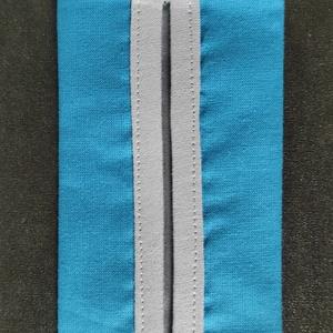 Türkiz papír zsebkendő tartó, Táska & Tok, Pénztárca & Más tok, Zsebkendőtartó, Varrás, Pamutvászonból készült papír zsebkendő tartó.\nKétrétegű (bélelt), a nyitott részen külön anyaggal sz..., Meska
