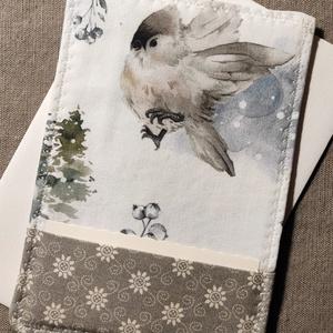 Téli madaras üdvözlőlap, textilkép, pénzboríték, Otthon & Lakás, Dekoráció, Kép & Falikép, Karácsonyra, születésnapra, névnapra, köszönetként, vagy csak úgy! Prémium minőségű téli, madaras mi..., Meska