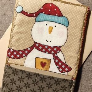 Hóember üdvözlőlap, textilkép, pénzboríték (bézs), Otthon & Lakás, Dekoráció, Kép & Falikép, Karácsonyra, születésnapra, névnapra, köszönetként, vagy csak úgy! Prémium minőségű hóember mintájú ..., Meska