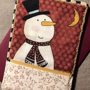 Hóember üdvözlőlap, textilkép, pénzboríték (bordó), Otthon & Lakás, Dekoráció, Kép & Falikép, Karácsonyra, születésnapra, névnapra, köszönetként, vagy csak úgy! Prémium minőségű hóember mintájú ..., Meska