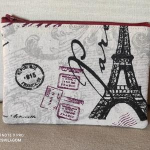 Párizs közepes neszesszer, Táska & Tok, Neszesszer, Varrás, Erős vászonból készült lapos neszesszer, Párizs mintával. A neszesszer másik oldala ugyanannak az an..., Meska