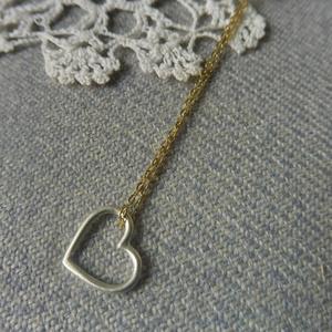 aranyozott ezüst lánc+szív, Ékszer, Medálos nyaklánc, Nyaklánc, Ékszerkészítés, Ötvös, Meska