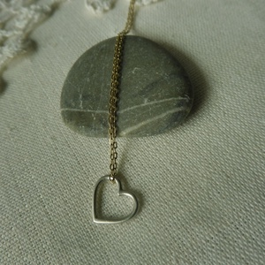 aranyozott ezüst lánc+szív - ékszer - nyaklánc - medálos nyaklánc - Meska.hu