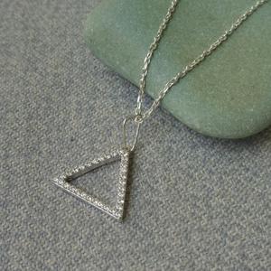 köves háromszög medál, Ékszer, Medálos nyaklánc, Nyaklánc, Ékszerkészítés, Ötvös, Meska