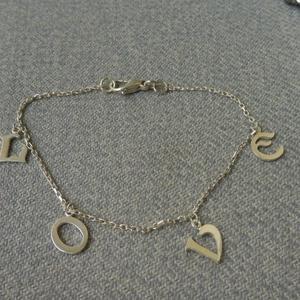 ezüst LOVE karkötő, Ékszer, Karkötő, Charm karkötő, Ékszerkészítés, Ötvös, 925-ös finomságú ezüstből készült karkötő 7-8mm-es szecessziós betűkkel.\na karkötő hossza 17cm...., Meska