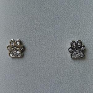 ezüst köves tappancs fülbevaló, Ékszer, Fülbevaló, Pötty fülbevaló, Ékszerkészítés, Ötvös, 925-ös finomságú ezüstből készült cica, vagy kutya talp fülbevaló pici cirkónia kövekkel.\nmérete 6mm..., Meska
