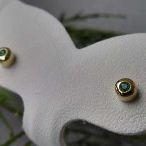 aranyozott ezüst smaragdos fülbevaló, Ékszer, Fülbevaló, Ékszerkészítés, Ötvös, Meska